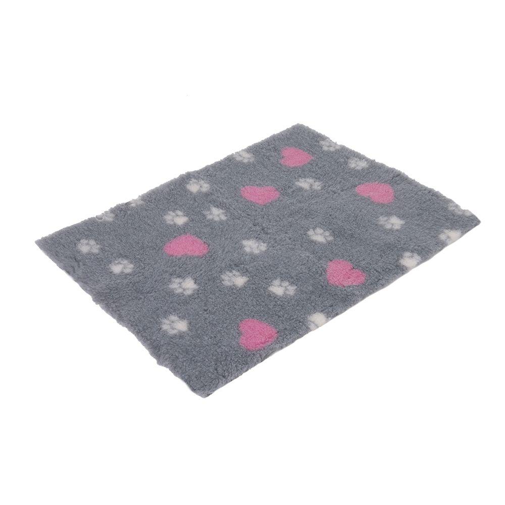 Vetbed® Isobed SL grau mit Herzchen und Pfötchen - L 100 x B 75 cm