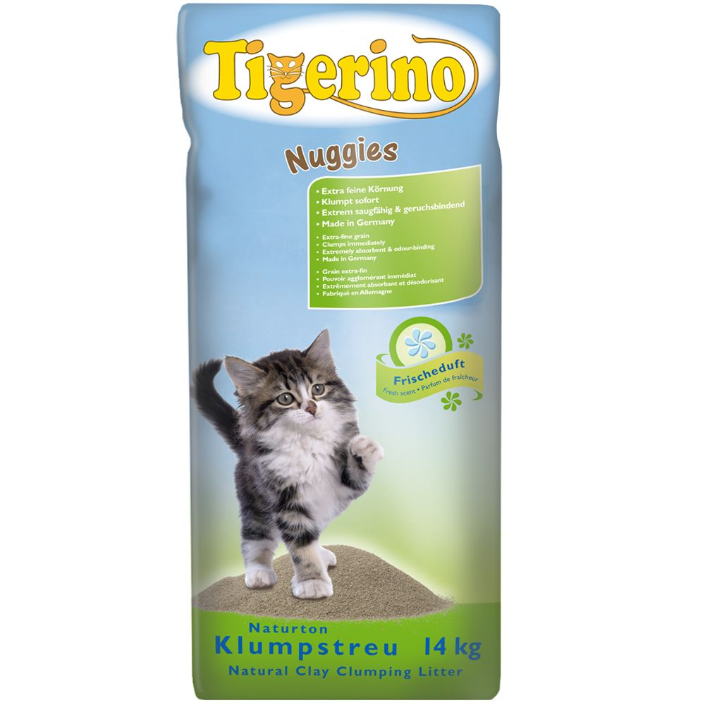 Tigerino Nuggies Fresh - zbrylający żwirek dla kota, drobnoziarnisty - 2 x 14 kg (ok. 28 l)