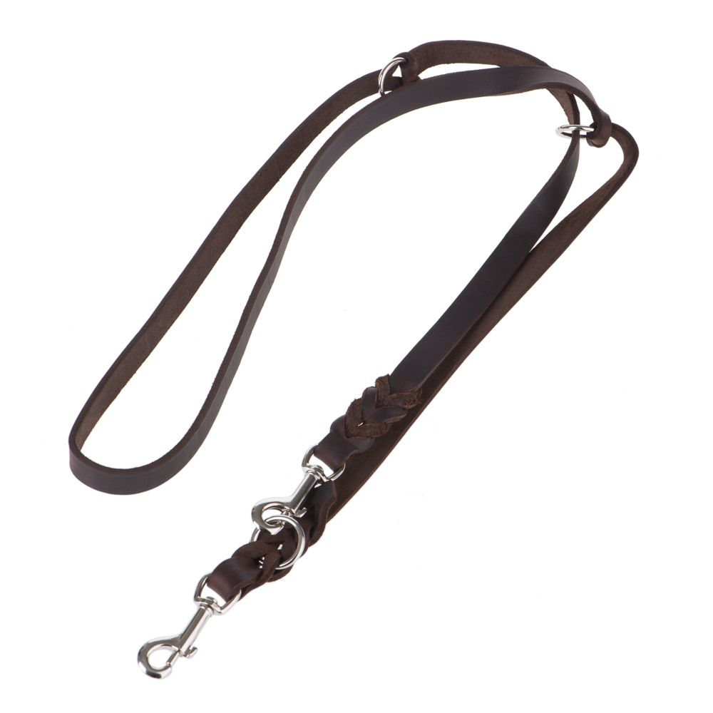 Heim Plaited Leather Double Dog Lead