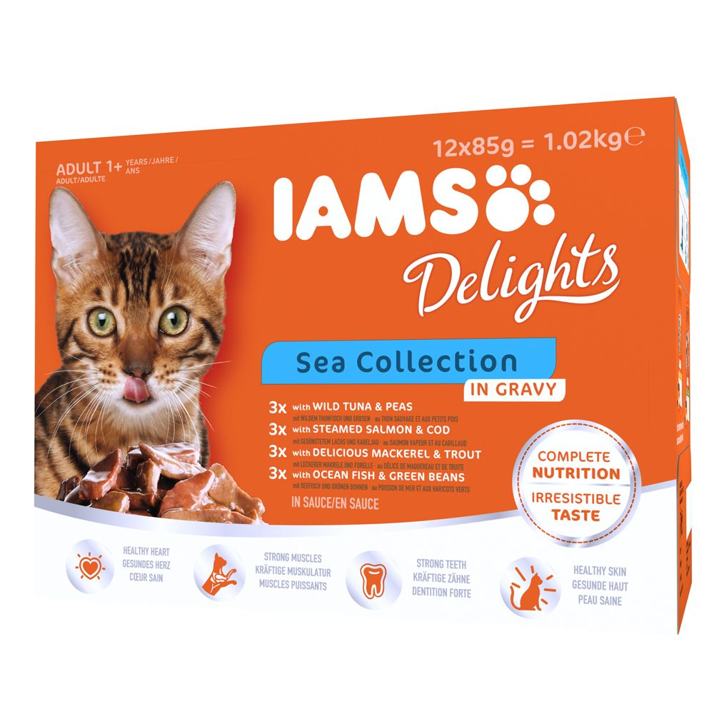 48 x 85g IAMS Delights Wet Cat Food Pouches - 36 + 12 Free!* - Kitten Chicken in Gravy