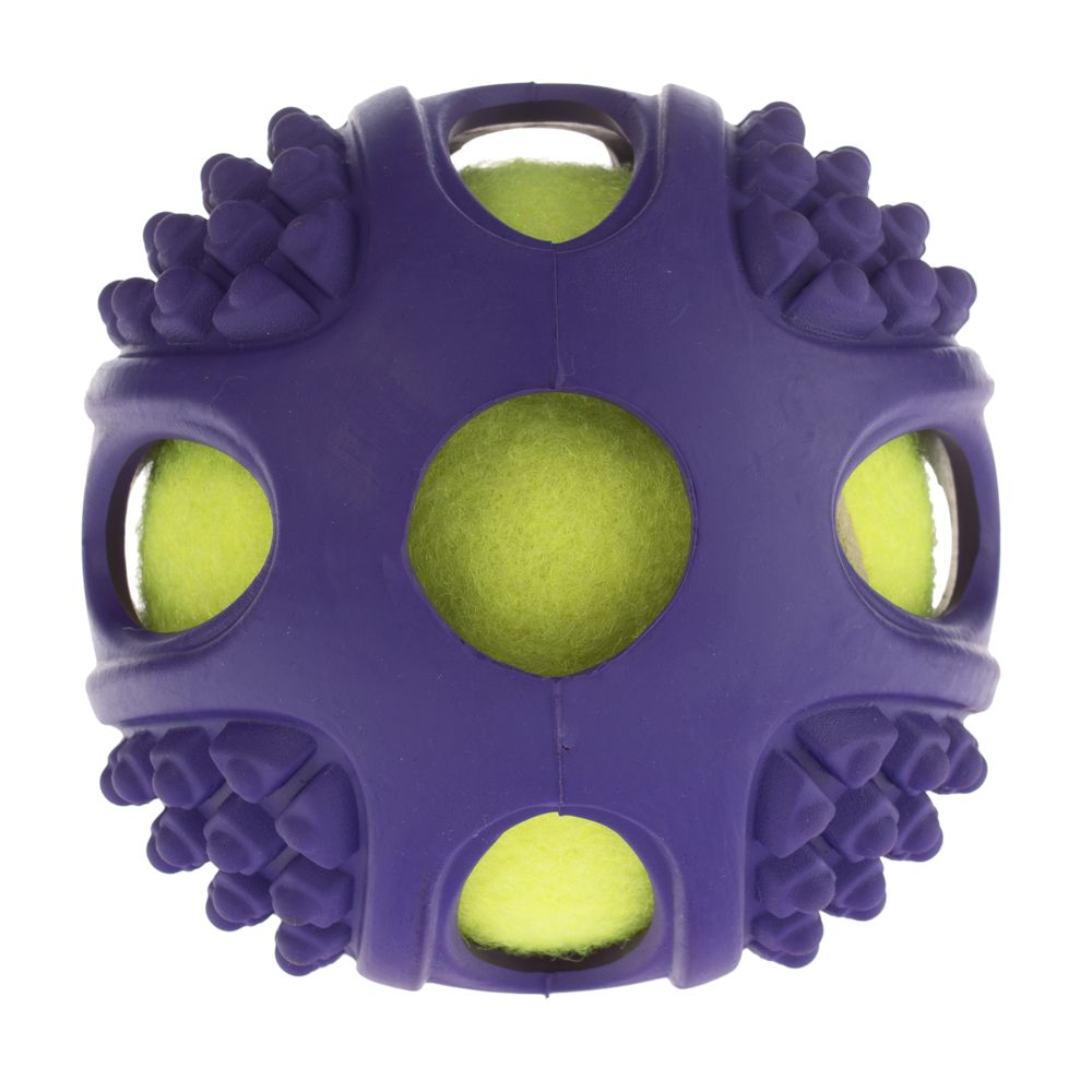 2-in-1 Rubber Tennis Ball Dog Toy - Size S: Diameter 6cm