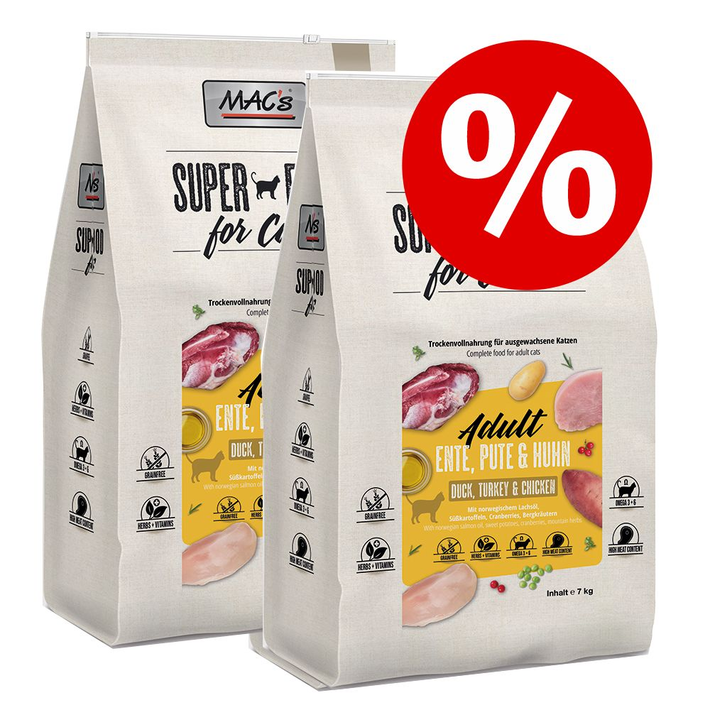 Ekonomipack: 2 x 7 kg MAC's Superfood for Cats torrfoder Adult Monoprotein Kanin (2 x 7 kg)