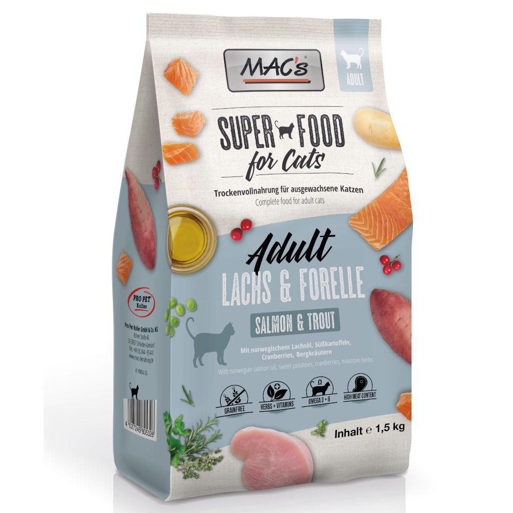 MAC's Superfood for Cats Adult Lax & öring - 1,5 kg