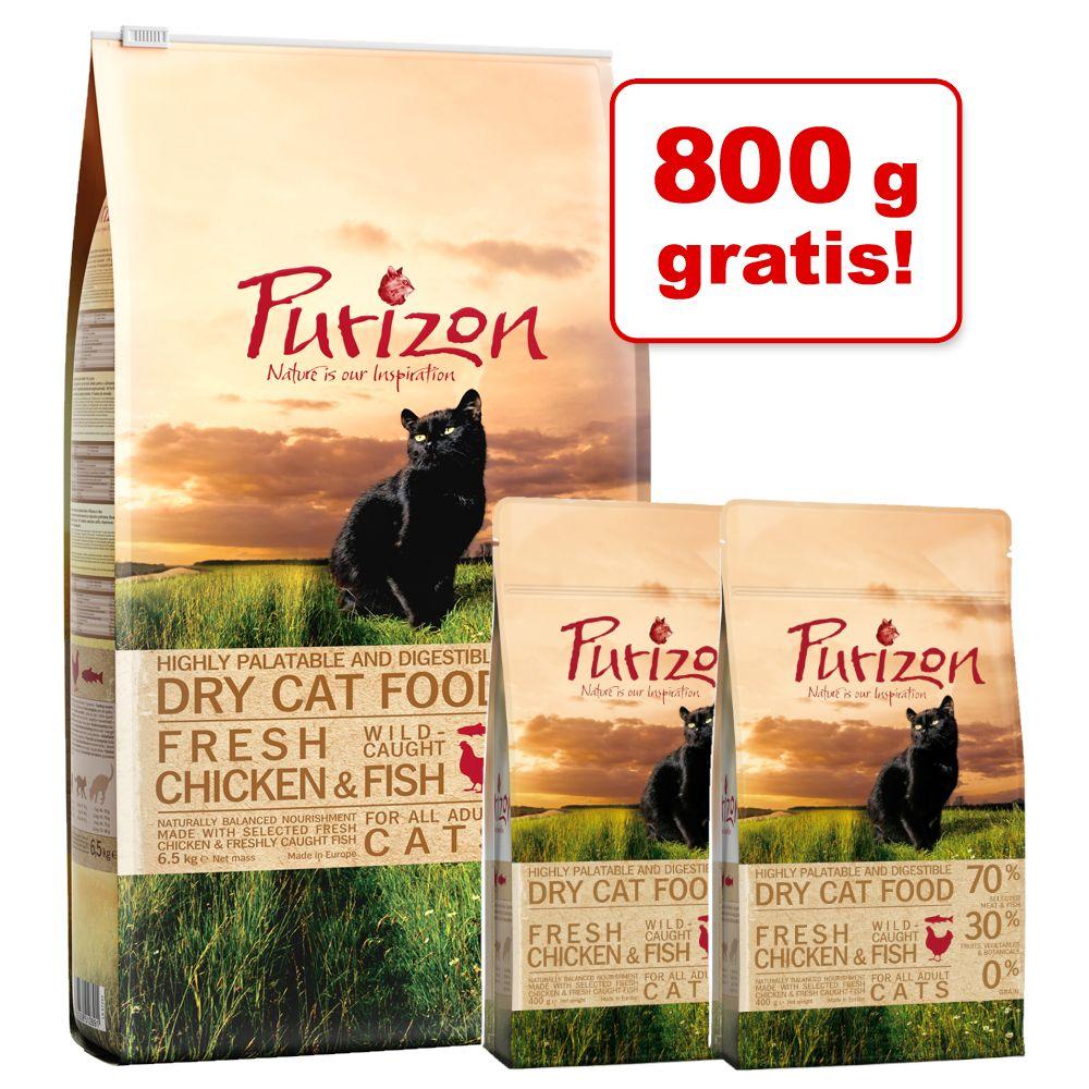 6,5 kg Purizon katt-torrfoder + 800 g på köpet! - Adult Chicken & Fish