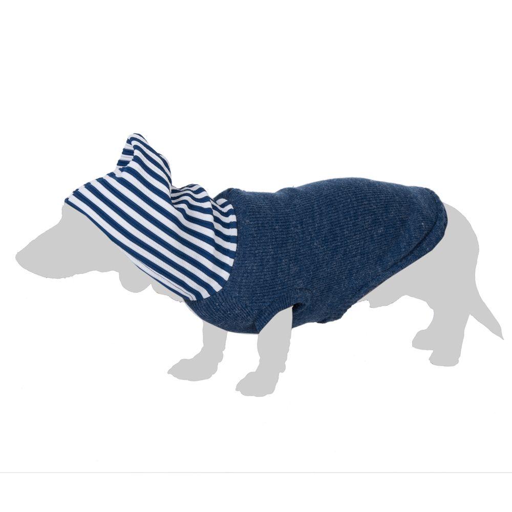 Pull-over à capuche rayée pour chien - longueur du dos : 35 cm environ (taille L)