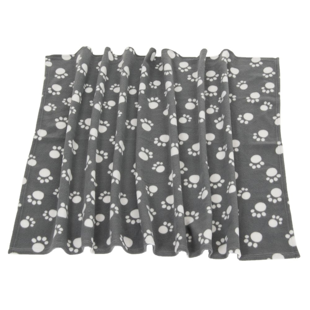 Pawty Fleece Soft Blanket Paw Print For Pet Dog & Cat Large Dark Grey 150x100cm