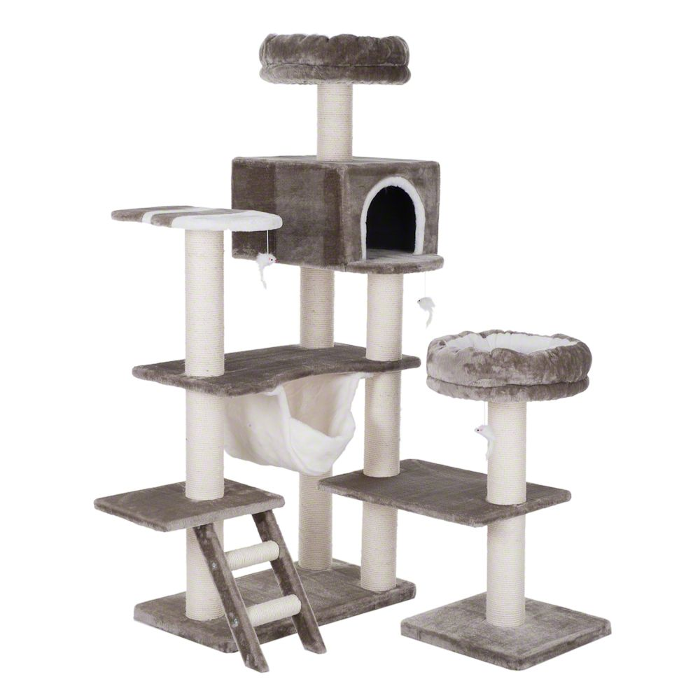 Gingerbread House Cat Tree with Ladder XXL - Light Grey