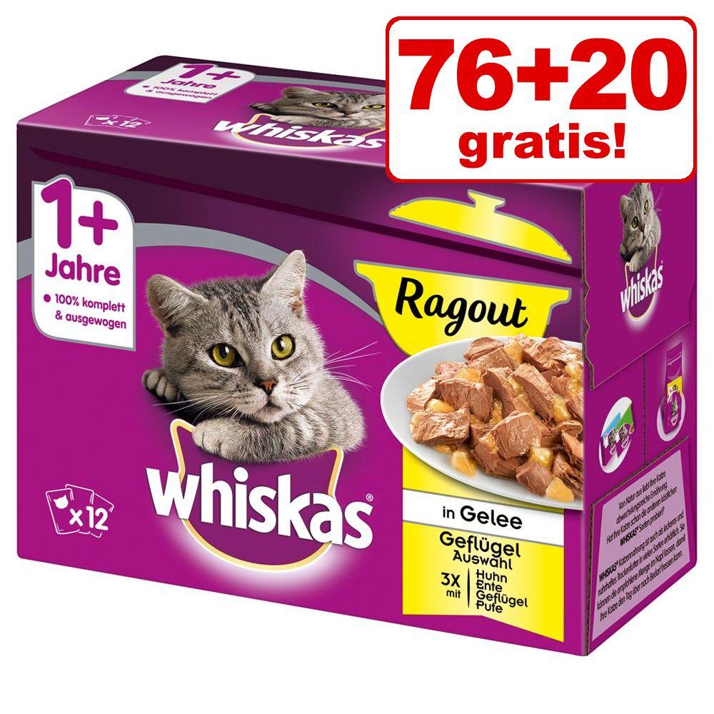76 + 20 på köpet! 96 x 85 / 100 g Whiskas portionspåsar - Junior Fiskurval i gelé (96 x 100 g)