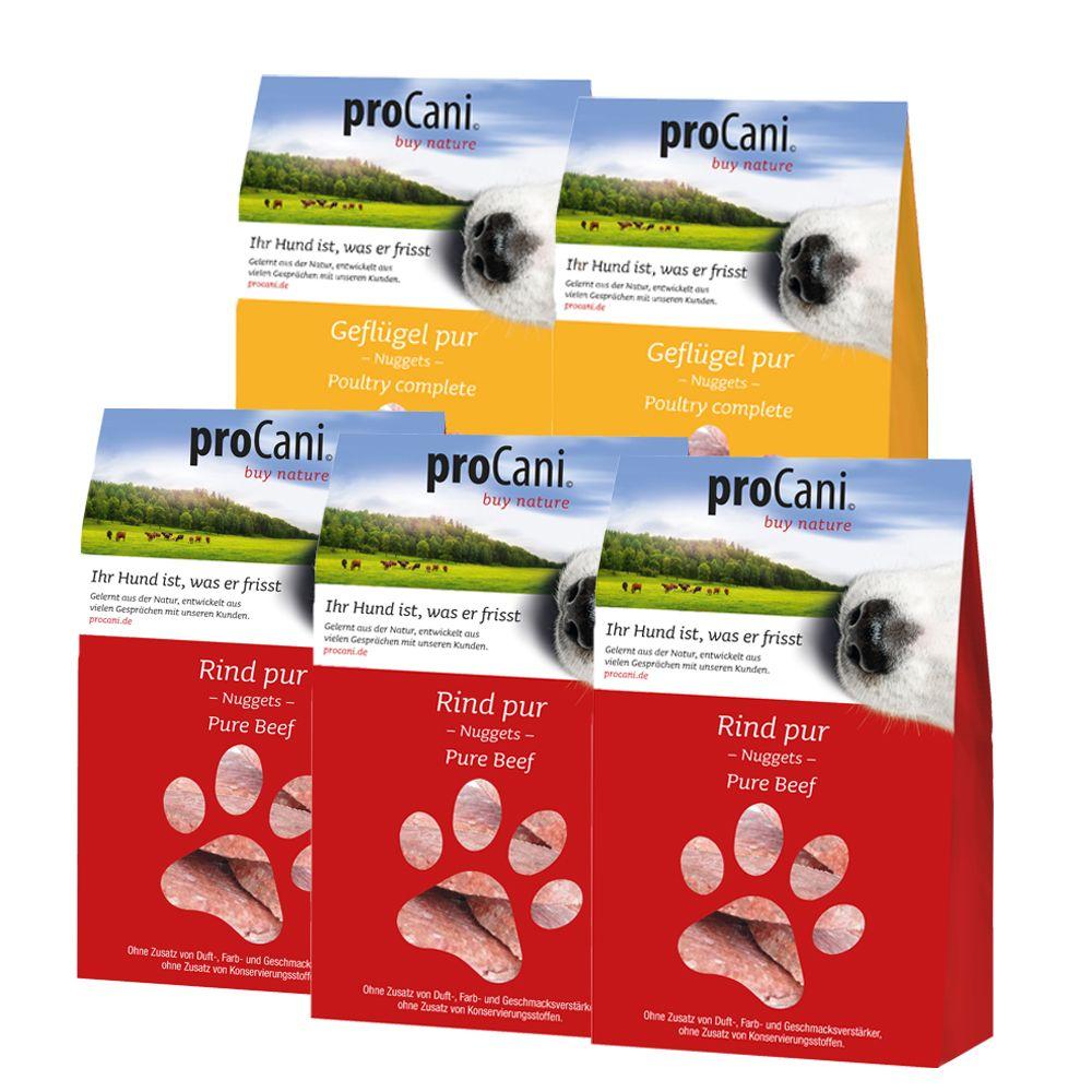 Podstawowy pakiet mieszany proCani Pur Nuggets kurczak i Nuggets wołowina - 5 x 480 g