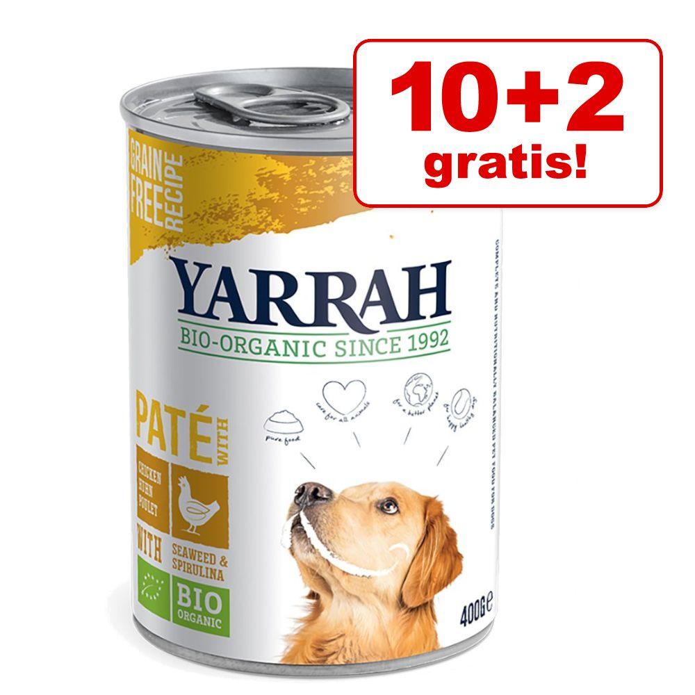 10 + 2 gratis! 12x Yarrah Bio Nassfutter - Bio Paté mit Schwein (12 x 400 g)