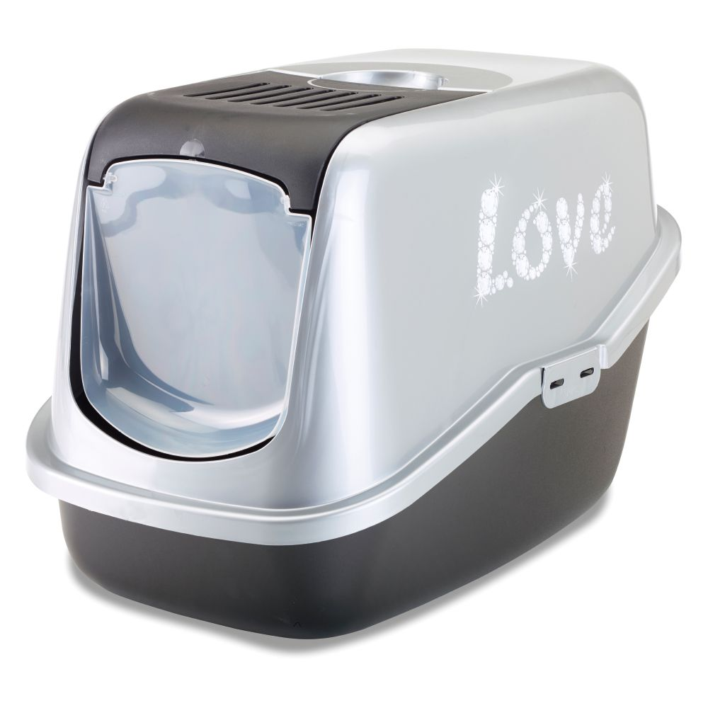 Savic Black & Silver Nestor Impression Litter Box with Love Design