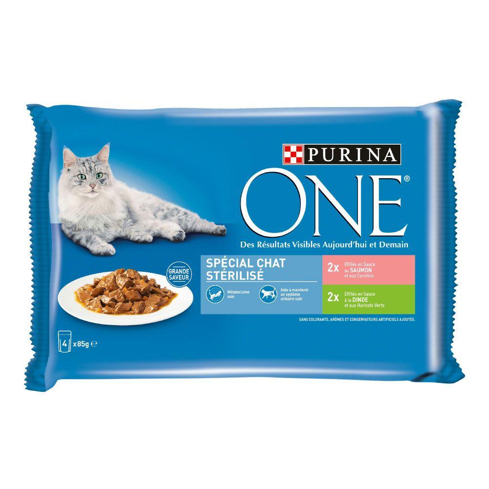4x85g Chat Stérilisé poulet bœuf PURINA ONE - Nourriture pour chat