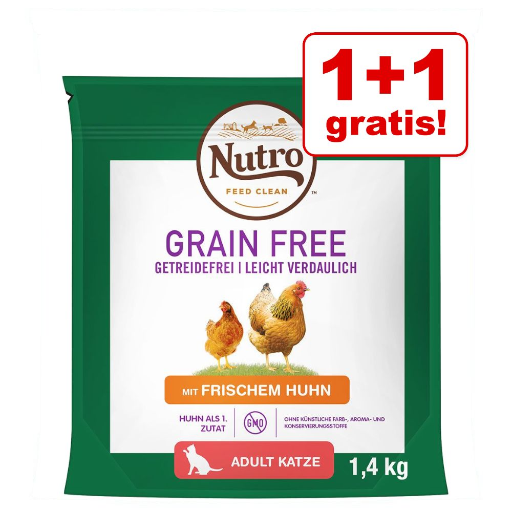 1 + 1 på köpet! 2 x Nutro torrfoder för katt - Grain Free: Adult Salmon & Whitefish (2 x 1,4 kg)