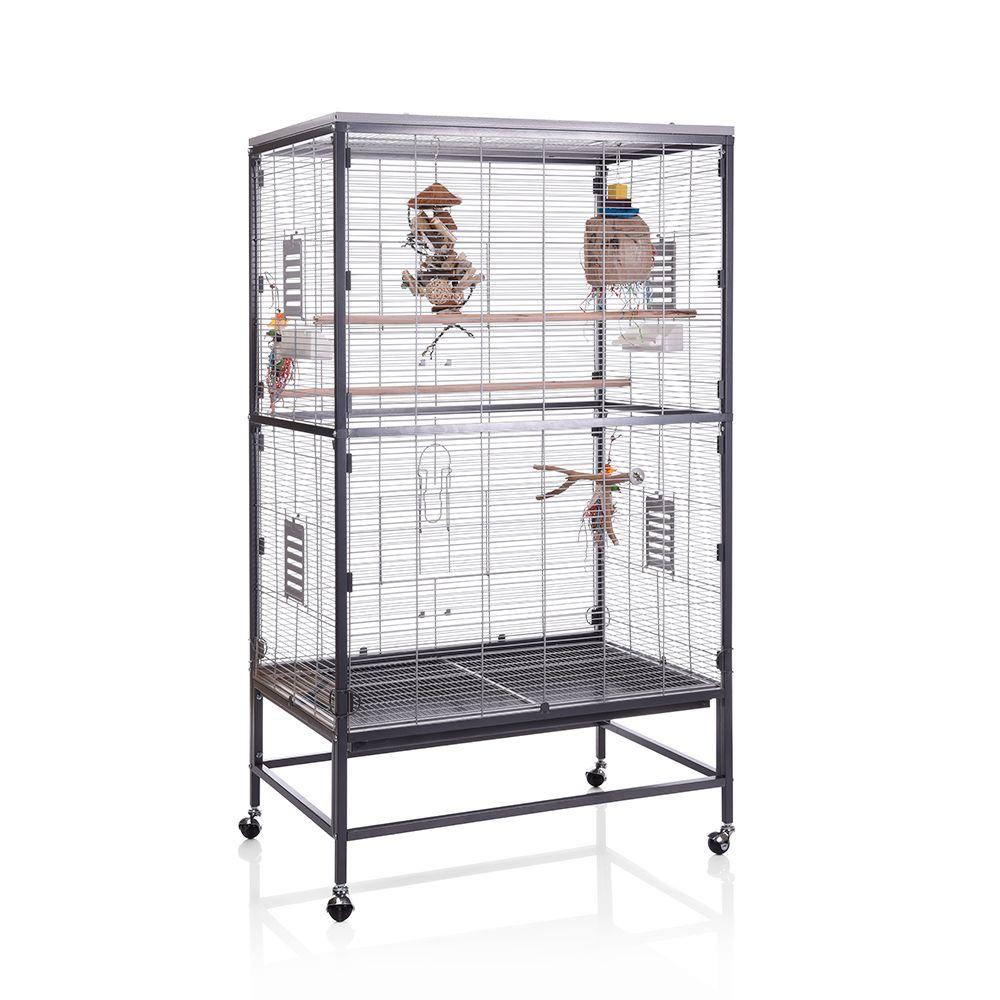 Jaula Montana Paradiso 90 para pájaros - antiguo/ platino: 91 x 60 x 160 cm (L x An x Al) (2 paquetes*)