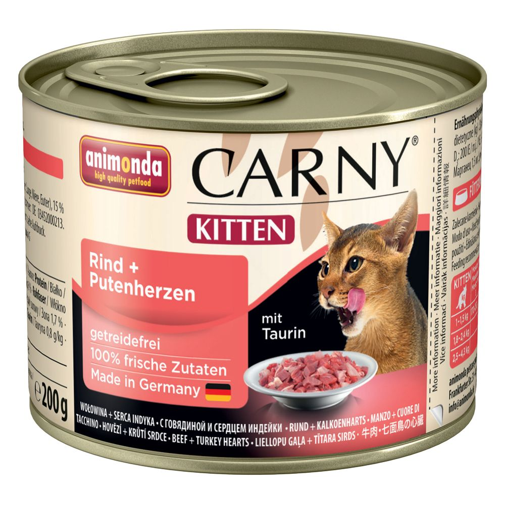 Animonda Carny Kitten Saver Pack 12 x 200g - Beef & Turkey Heart