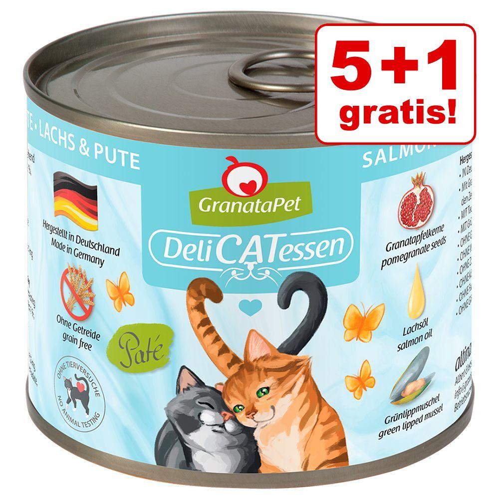 5 + 1 gratis! 6 x 200 g GranataPet DeliCatessen - Kalb PUR