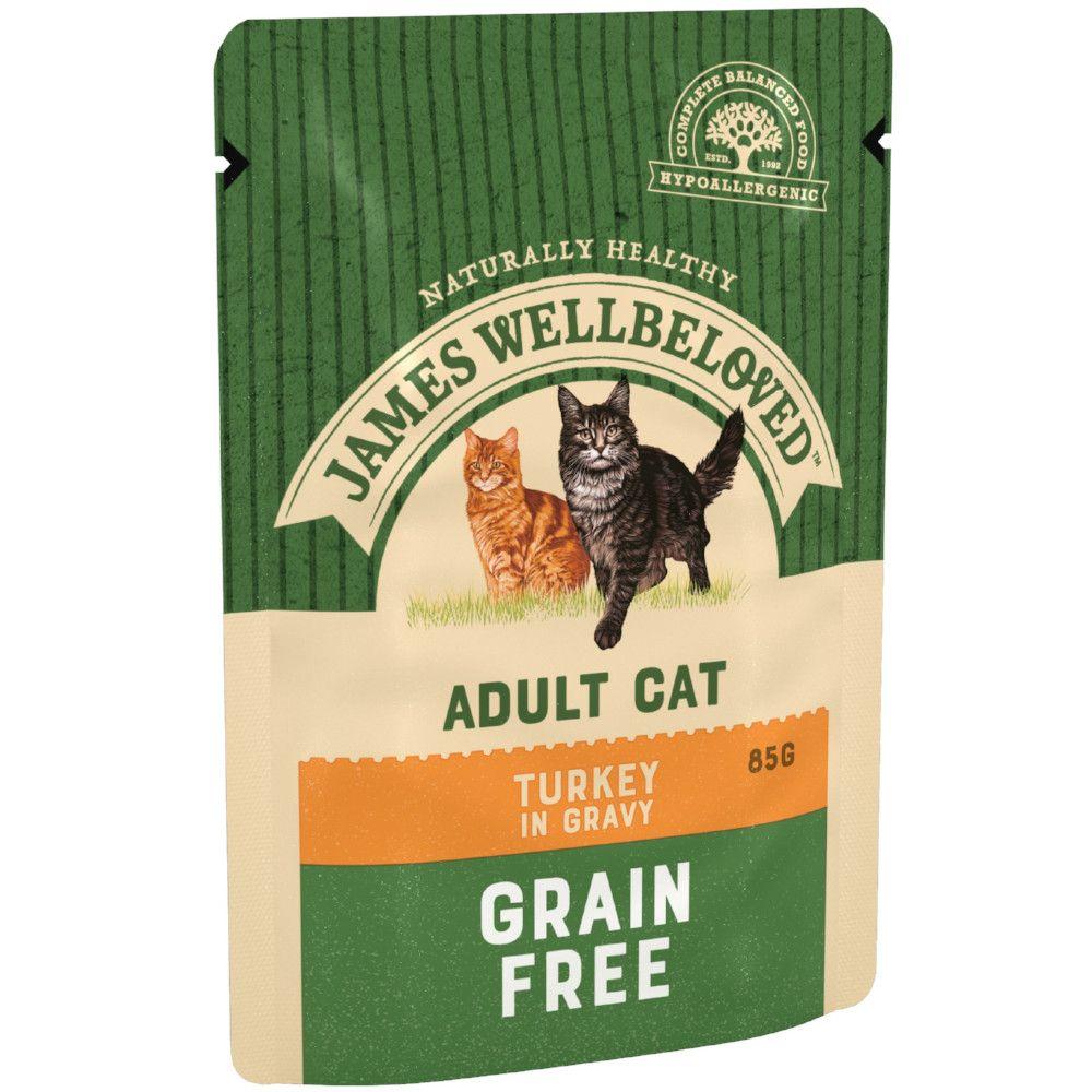 12x85g Adult Turkey Pouches James Wellbeloved Wet Cat Food