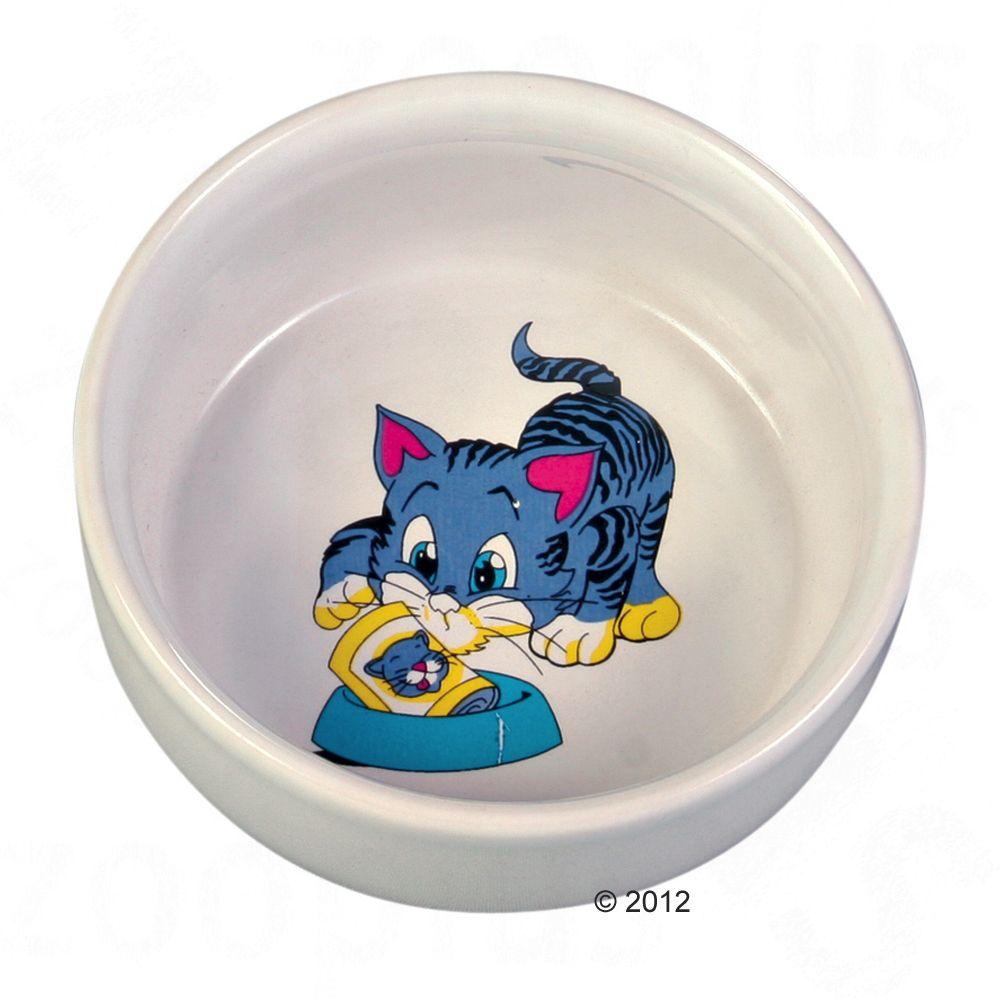 Trixie ceramiczna miska z motywem dla kota - 300 ml, Ø 11 cm