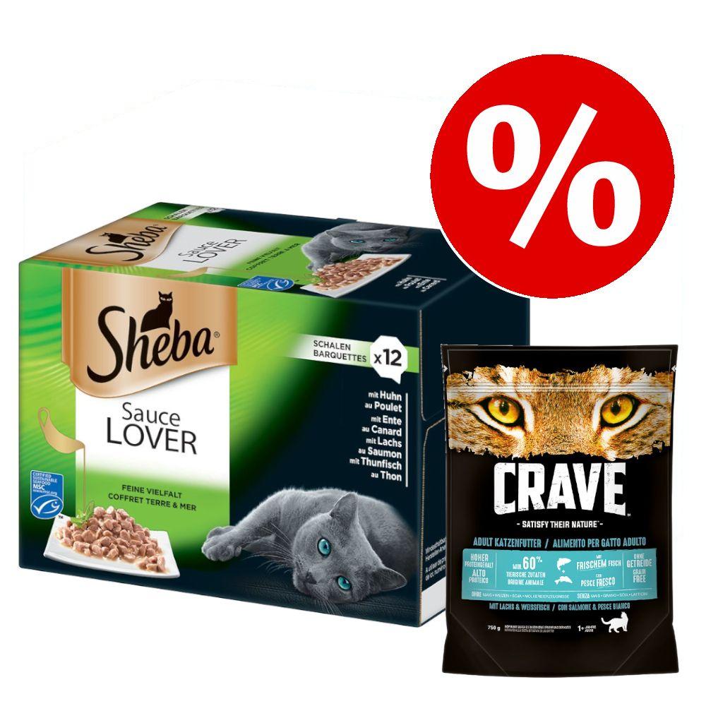 48 x 85 g Sheba + 750 g Crave Salmon & White Fish torrfoder till kanonpris! - Sauce Lover + Adult Salmon & White Fish