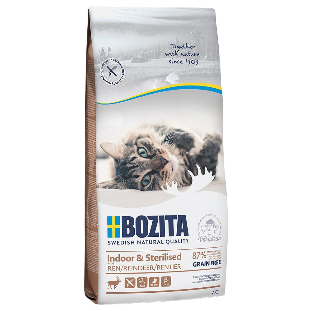Reindeer Indoor & Sterilised Grain Free Bozita Dry Cat Food
