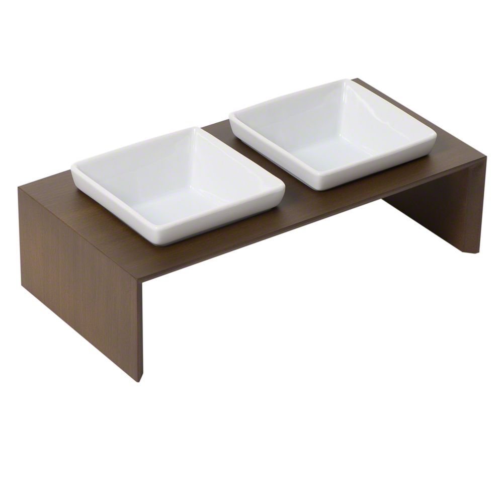 Replus Meshidai Double Ceramic Bowl - Tobacco Brown - 2 x 0.9 litre