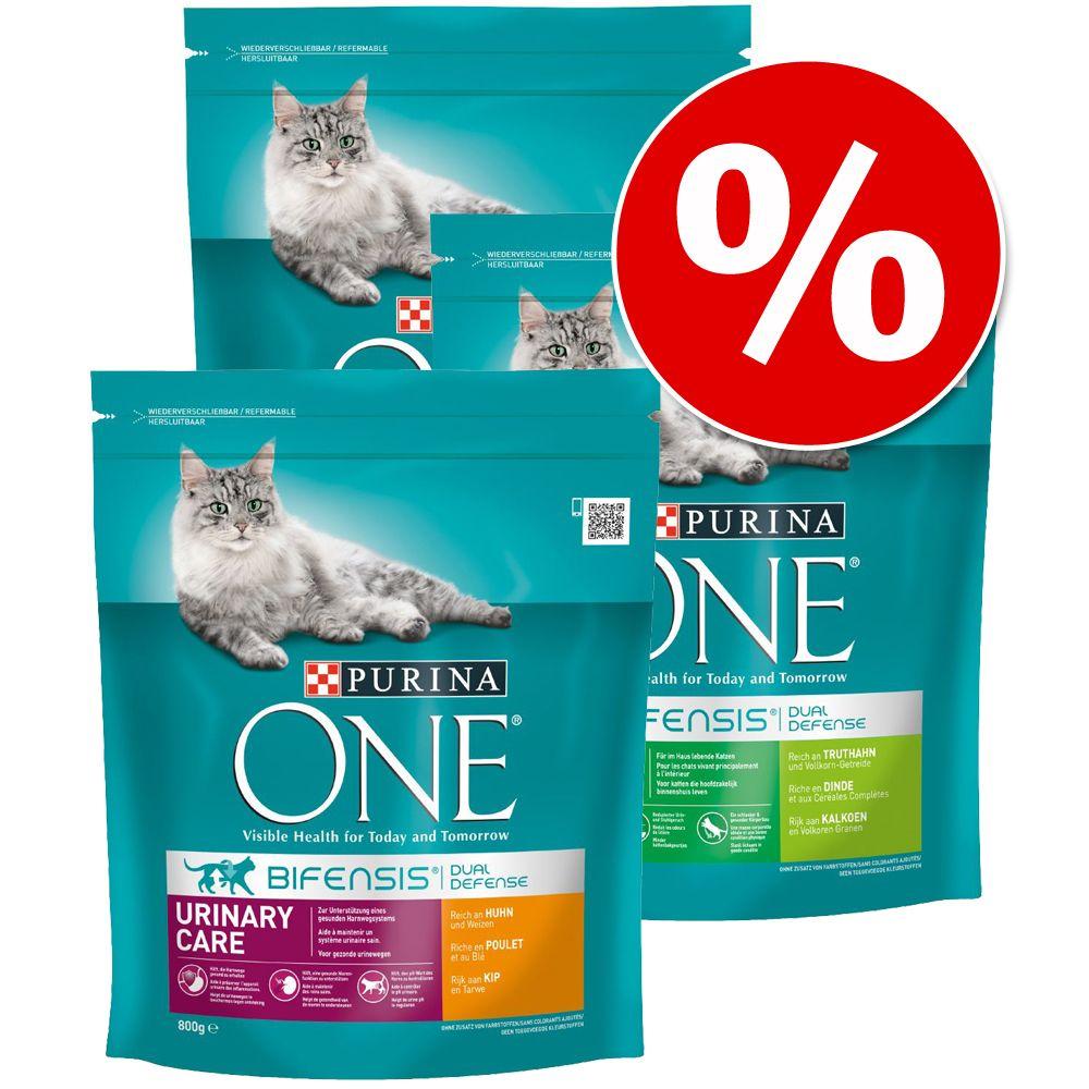 Blandpack: 3 x 800 g Purina ONE torrfoder för katt - Adultmix