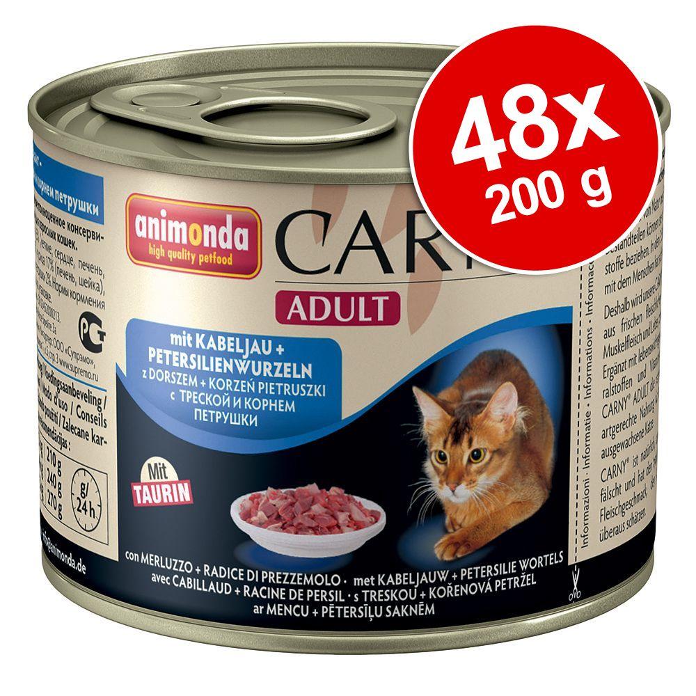 Ekonomipack: 48 x 200 g Animonda Carny – Senior: Nötkött & kalkonhjärta