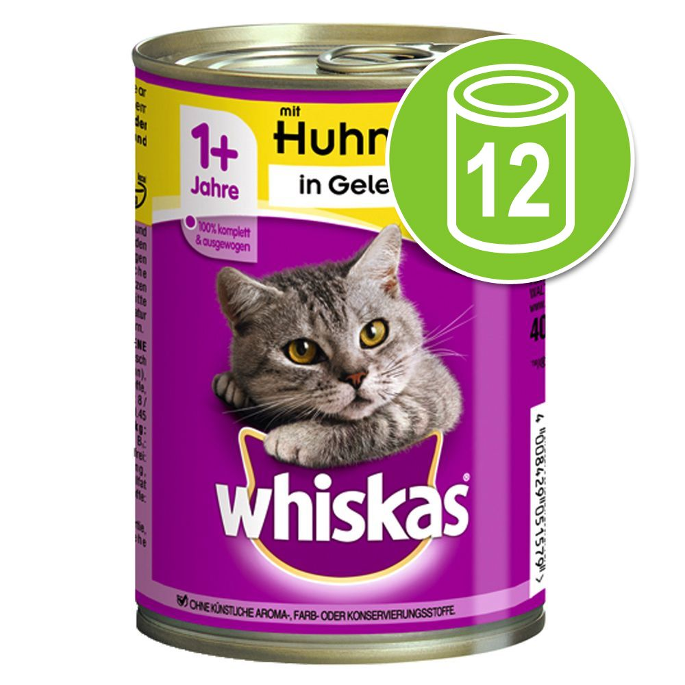 Image of Whiskas 1+ lattine 12 x 400 g - Coperchio per lattine (Set da 3, Ø 7,5 cm)