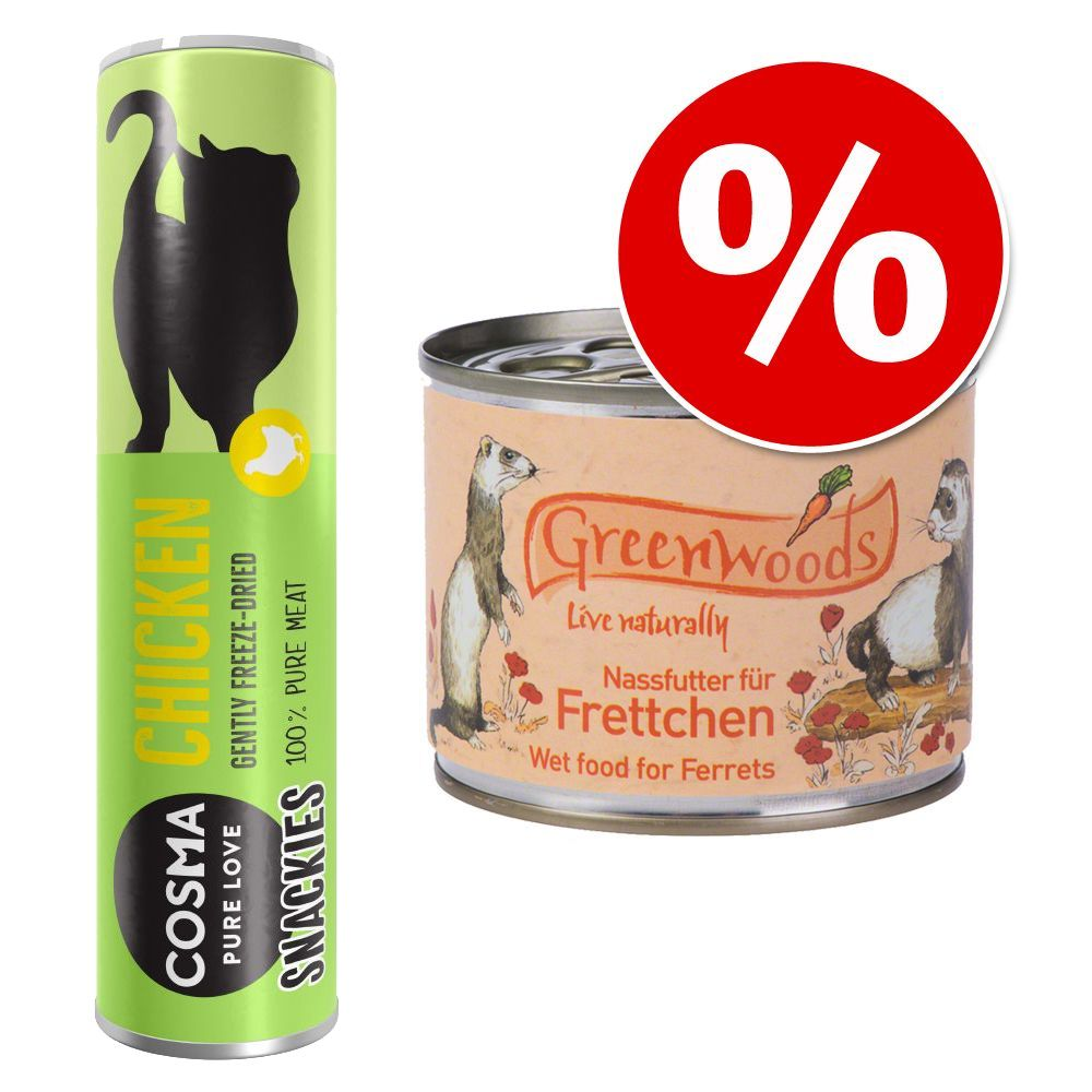 Lot pour furet : boîtes Greenwoods + friandises Cosma Snackies - 6 x 200 g + canard 21 g