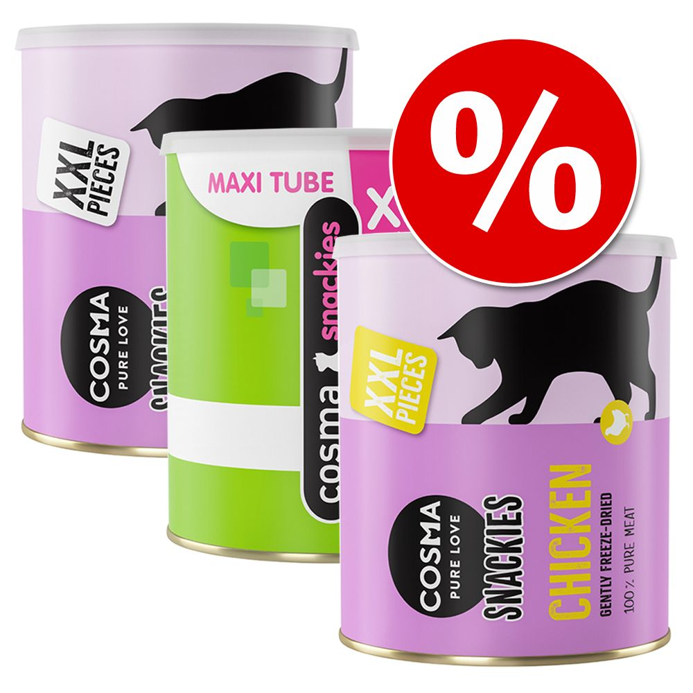 Ekonomipack: Cosma Snackies XXL Maxi Tube frystorkat kattgodis - Blandpack: 1 x kyckling + 1x tonfisk + 1x vitfisk (490 g)