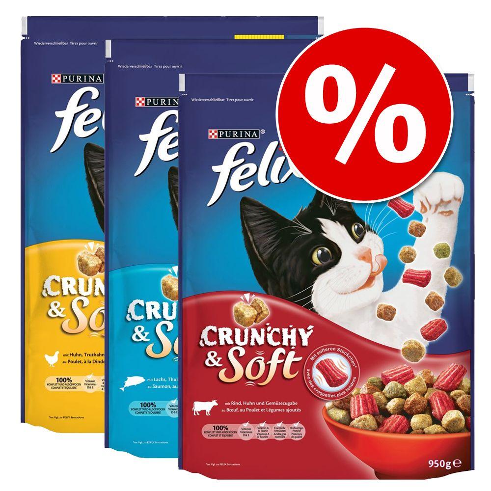 Image of Set risparmio! 3 x 950 g Felix Crunchy & Soft - con Carne