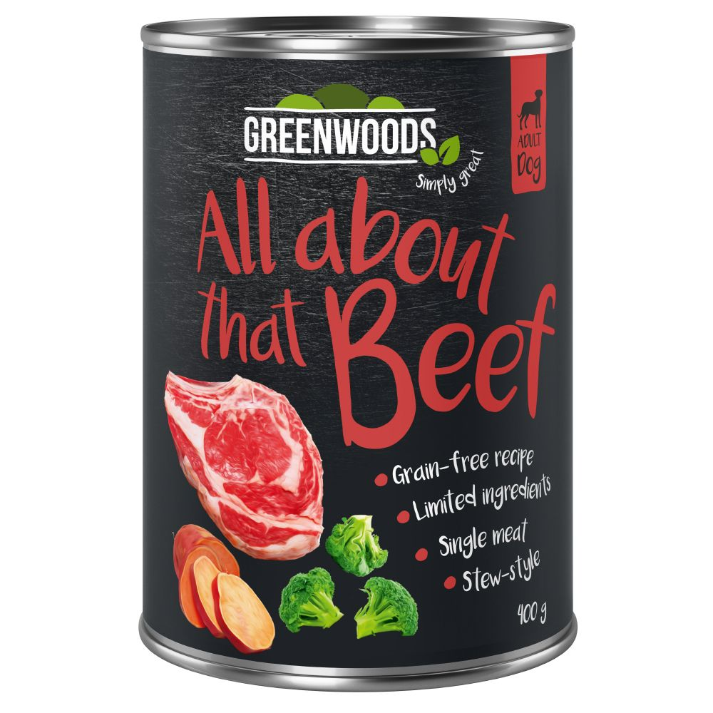 6x400g Greenwoods bœuf, patates douces, brocolis - Pâtée pour chien