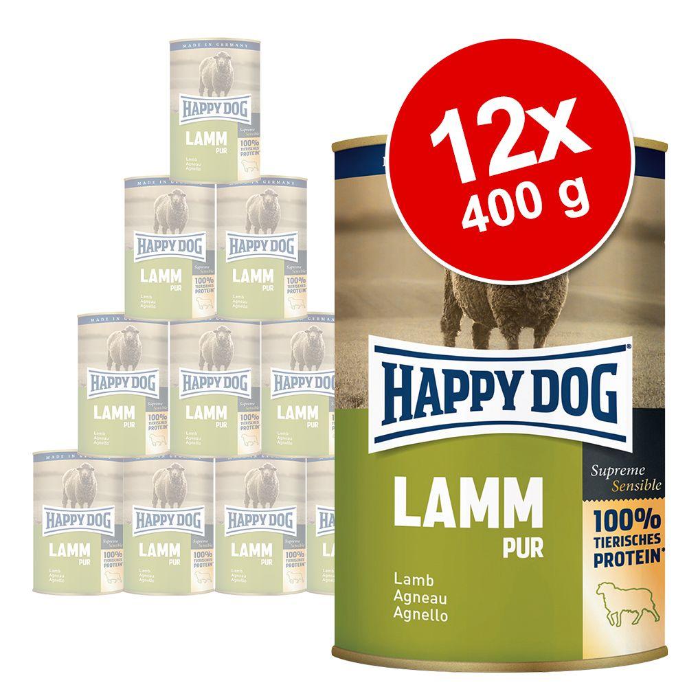 Lot Happy Dog Pur 12 x 400 g pour chien - lot mixte (agneau + dinde + bœuf + buffle + cheval + canard)