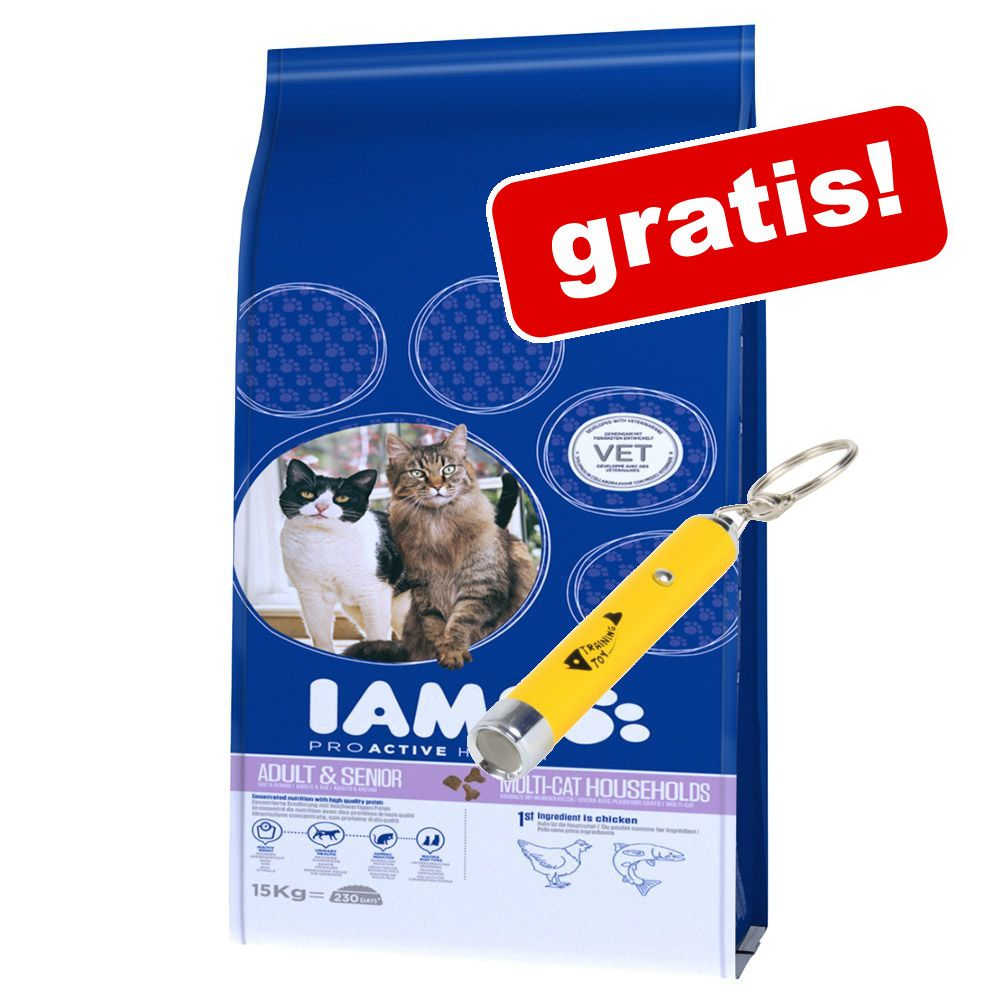 IAMS torrfoder 10 eller 15 kg + Trixie catch the light på köpet! Low Fat (10 kg)