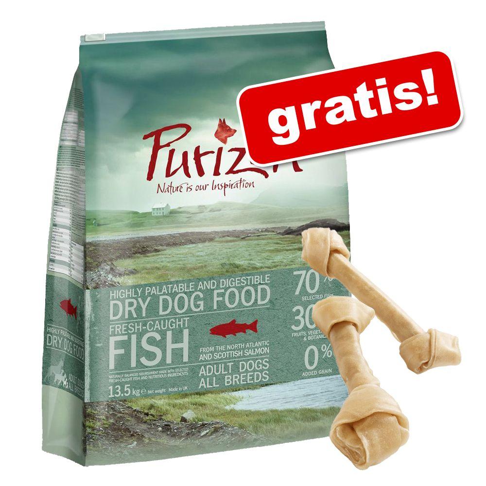 Stor påse Purizon hundfoder + 6 st Barkoo knutna tuggben på köpet! - Single Meat Adult Duck & Apple - spannmålsfritt 12 kg
