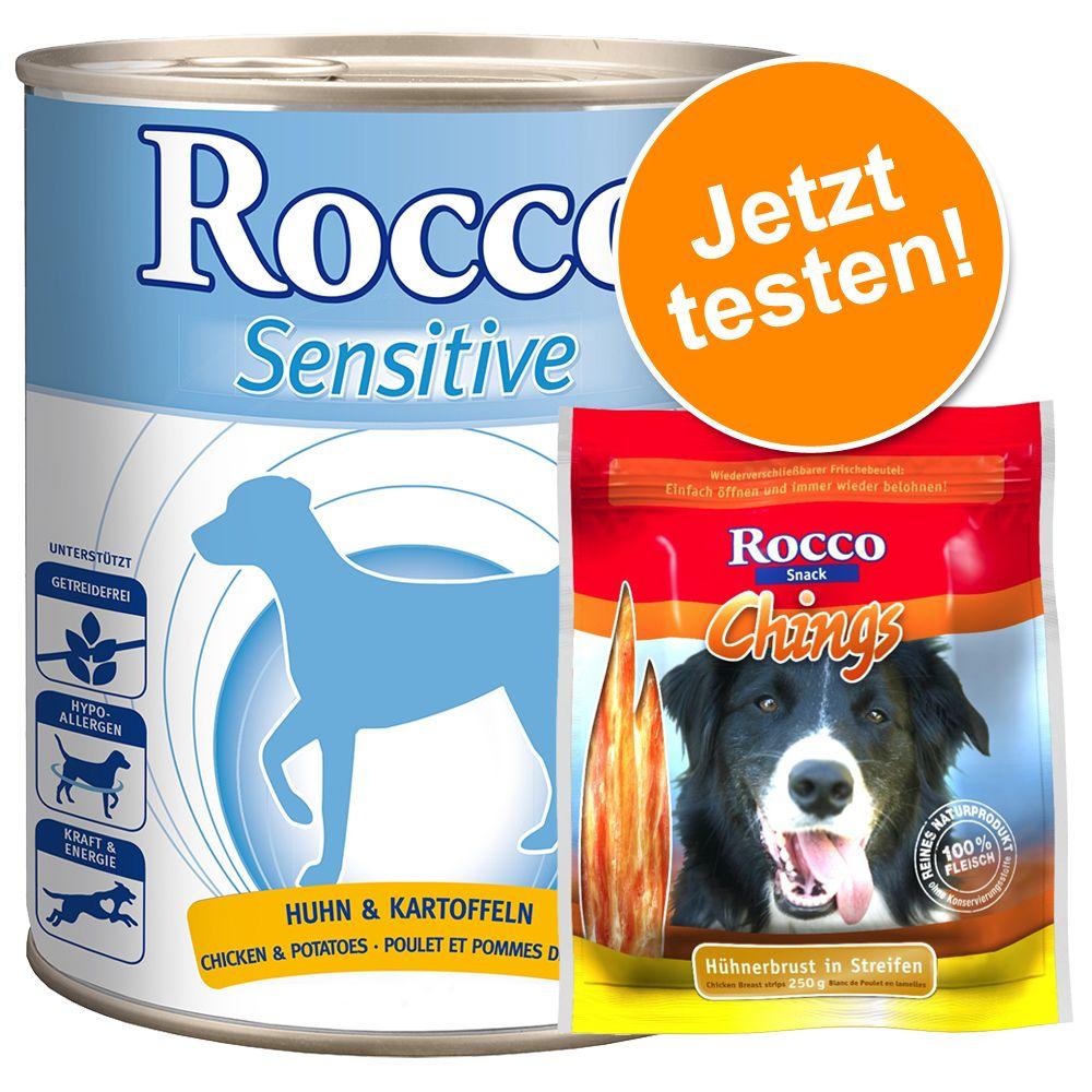Rocco Sensitive 6 x 400 g / 800 g + 250 g Rocco Chings - Huhn & Kartoffel 6 x 400 g