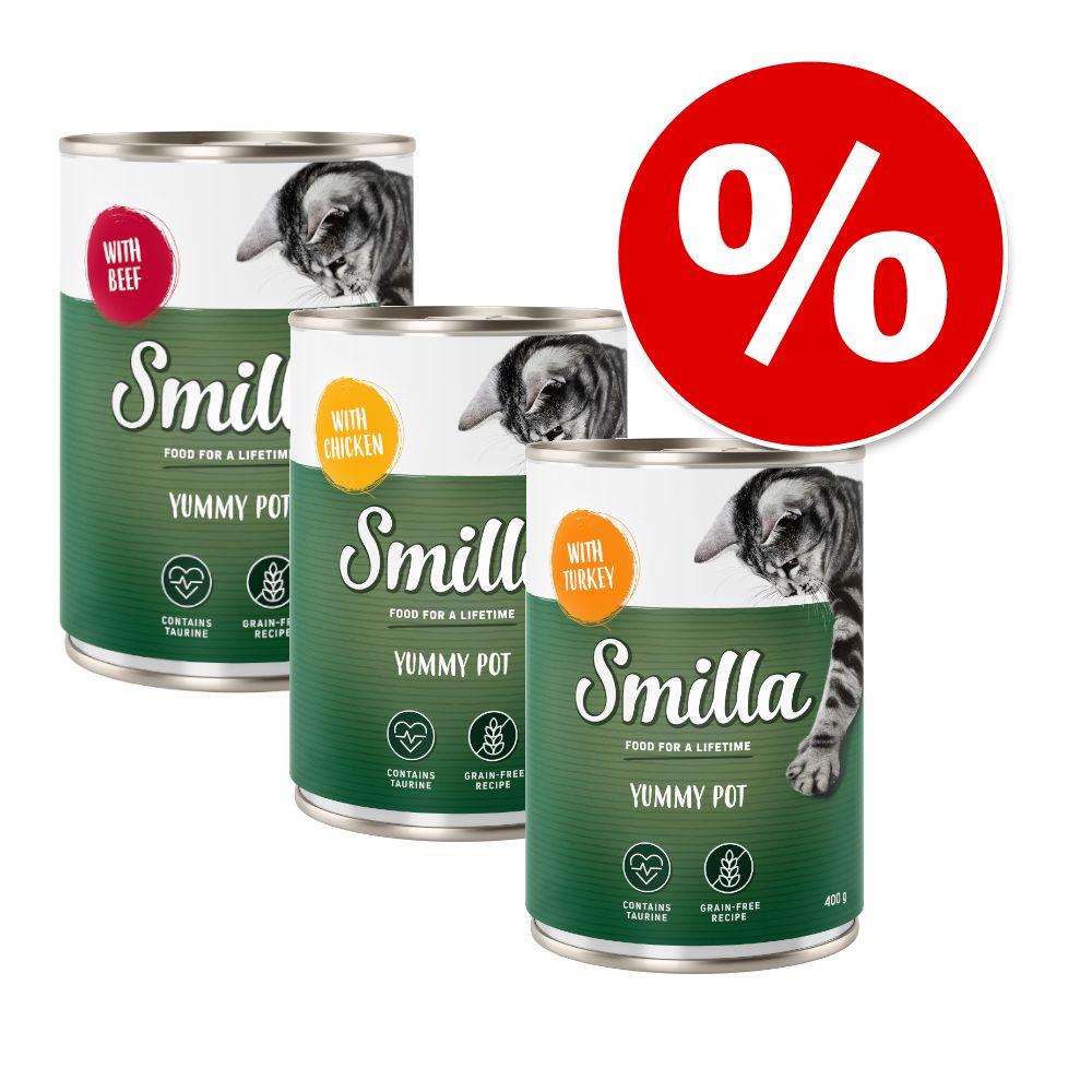 Blandat ekonomipack: Smilla Yummy Pot 60 x 400 g - Kyckling, Lax & Nötkött