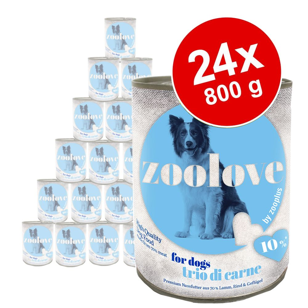 zoolove Cibo umido per cani 24 x 800 g - Trio di Carne