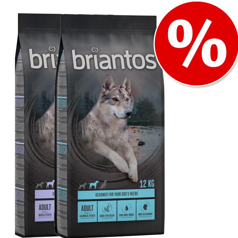 2x12kg Briantos SANS CÉRÉALES saumon, pommes de terre - Croquettes pour chien