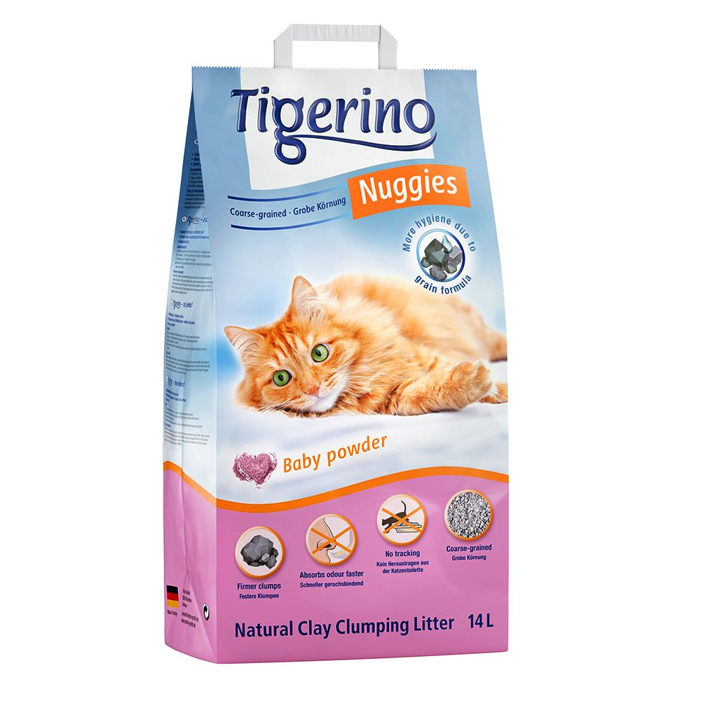 Tigerino Nuggies Cat Litter – Coarse-Grained, Babypowder Scented - Economy Pack: 2 x 14l