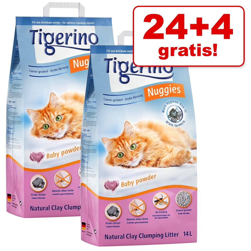 24 + 4 l gratis! 28 l Tigerino Nuggies Katzenstreu - Ultra Babypuderduft (feine Körnung)