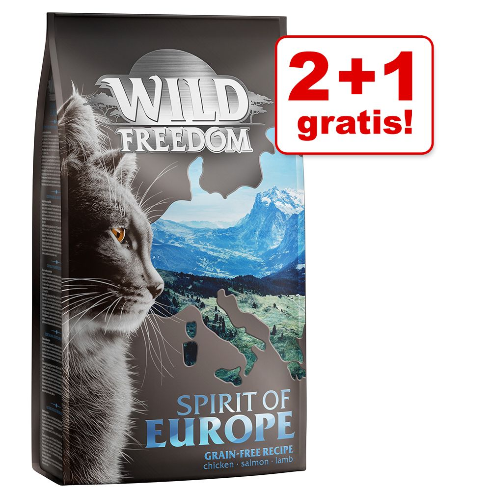 2 + 1 gratis! 3 x 2 kg Wild Freedom Trockennahrung - Mix: Spirit of Africa, Europe und Asia