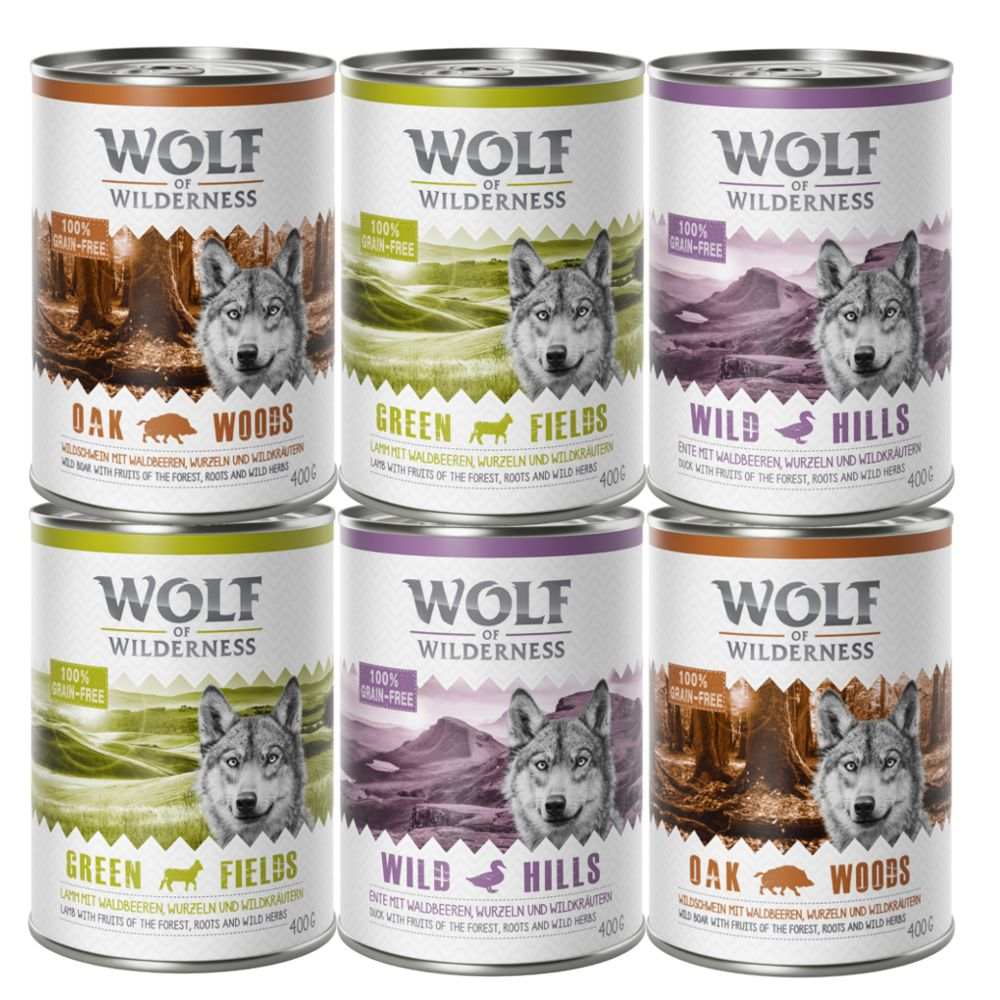 3 varieties Mixed Pack Chicken Pork Fish Adult Wolf of Wilderness Wet Dog Food