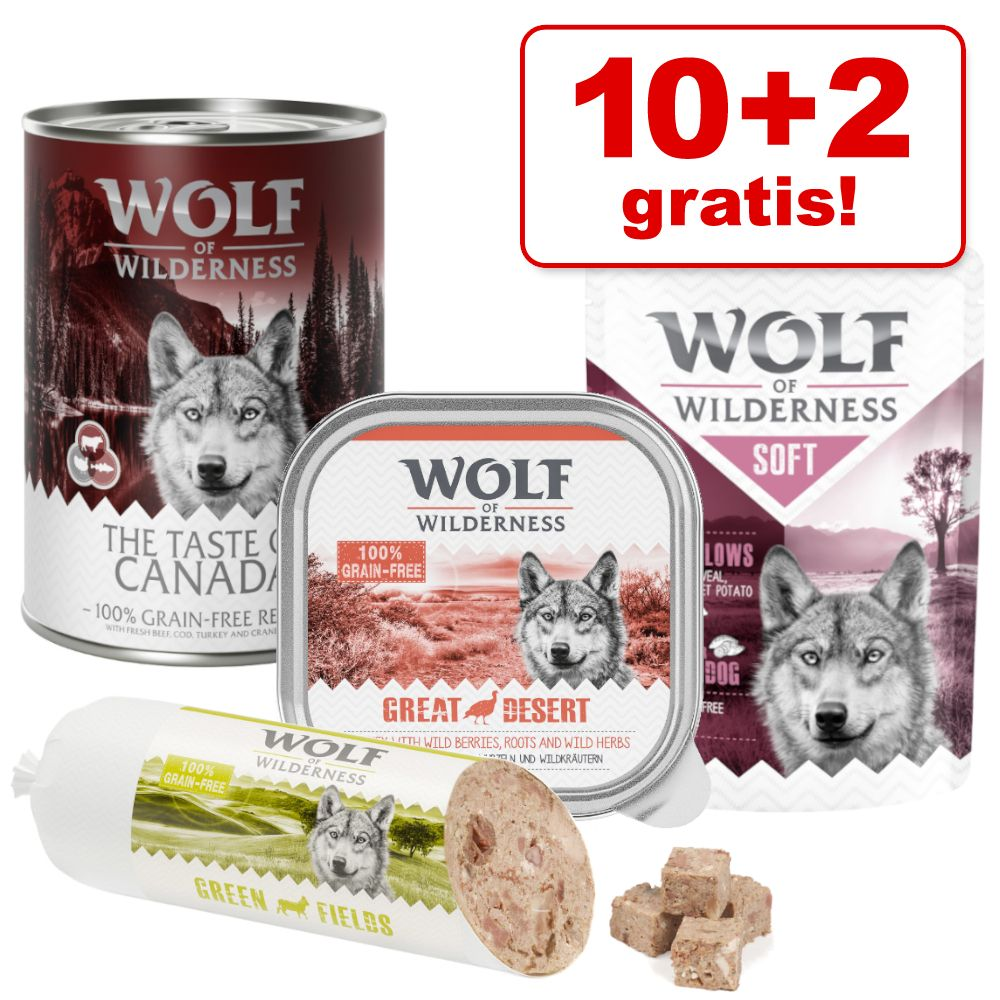 10 + 2 gratis! 12 x 300 g/ 400 g Wolf of Wilderness Nassfutter -