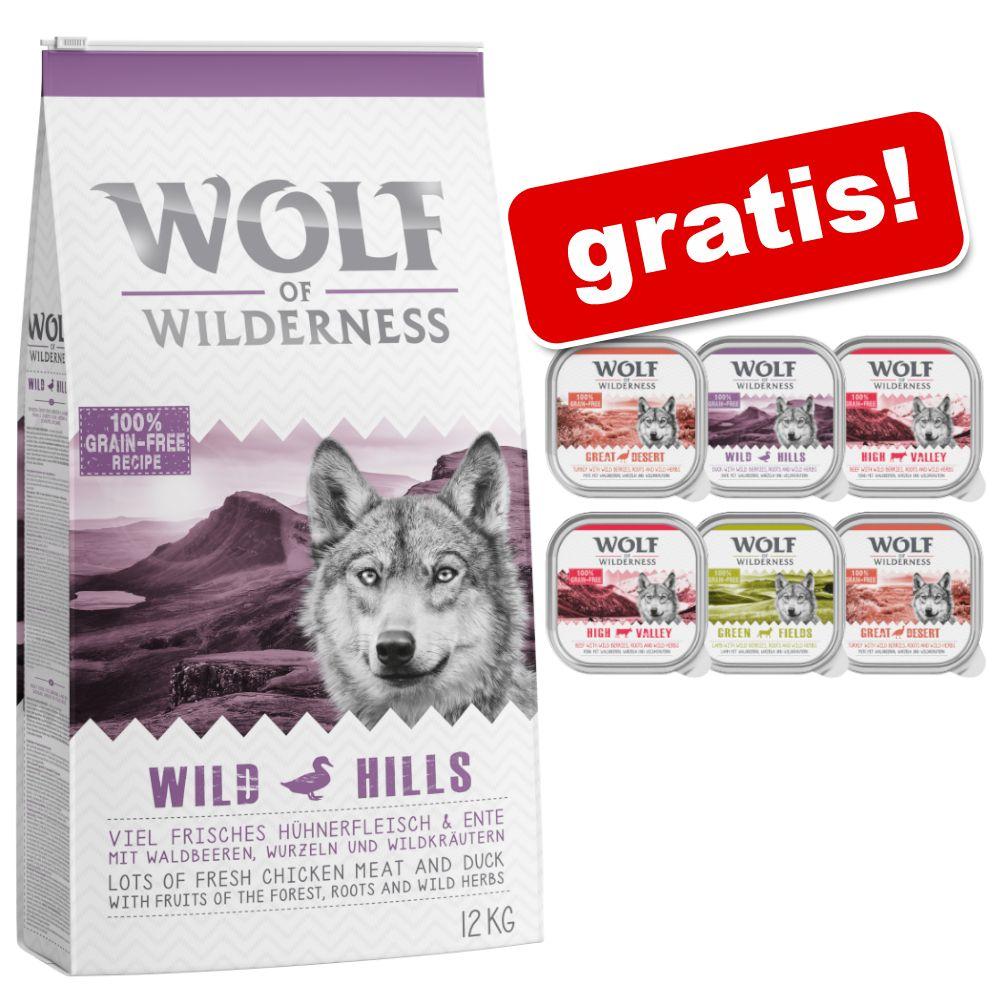 12 kg Wolf of Wilderness + 6 x 300 g våtfoder i blandpack på köpet! - Scarlet Sunrise - Salmon & Tuna