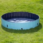 Give your dog its own pool! This swimming pool made of durable plastic has a strengthened side wall and is stable without the need for inflatable parts. The ribbed...