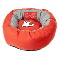 Simons Cat Donut Cat Bed - Red / Grey - Diameter 46cm x H 17cm