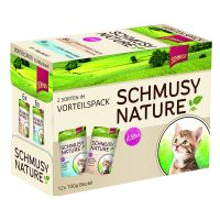 Schmusy Nature Pouches Kitten Mixed Trial Pack 12 x 100g - 2 Varieties