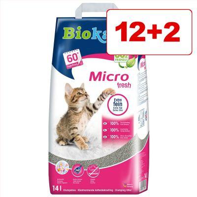 Biokat's Micro tai Micro Fresh -kissanhiekka 14 l: 12 + 2 l kaupan päälle! - Micro