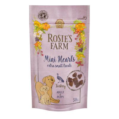 Rosie's Farm Puppy Snacks Mini Hearts, con pavo - 50 g